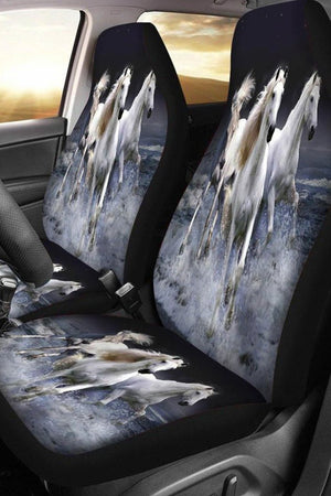 Slate Gray Water Running Horse Car Seat Cover-Set of 2 Car Seat Covers