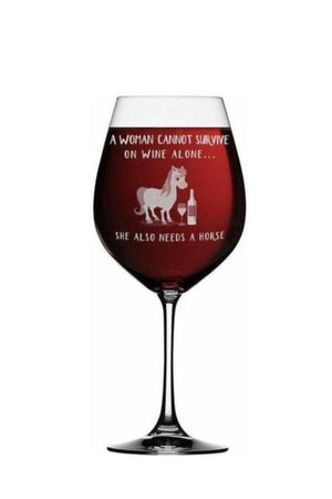 She Also Needs A Horse - Wine Glass-Drinkware-Printex-1 Glass-Three Wild Horses