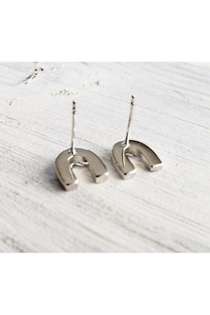 Horseshoe Heart Earrings - ON SALE-Jewelry-Gavin-.925 Sterling Silver-Three Wild Horses