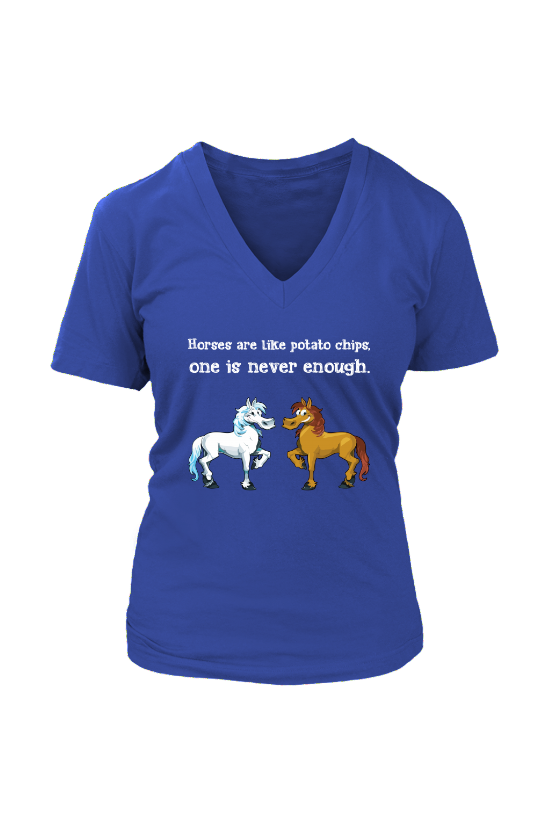 Horses Are Like Potato Chips - Tops-Tops-teelaunch-Womens V-Neck-Royal Blue-S-Three Wild Horses