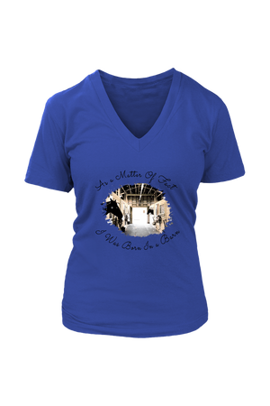 Born In A Barn - Tops-T-shirt-teelaunch-Womens V-Neck-Royal Blue-S-Three Wild Horses
