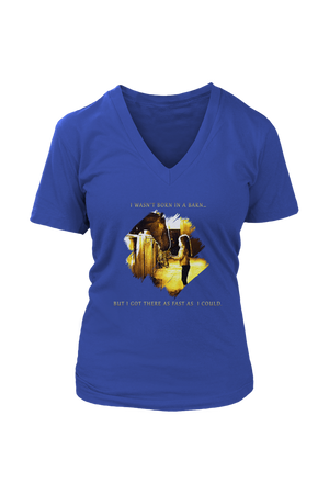 I Was Not Born In The Barn Tops-T-shirt-teelaunch-Womens V-Neck-Royal Blue-S-Three Wild Horses
