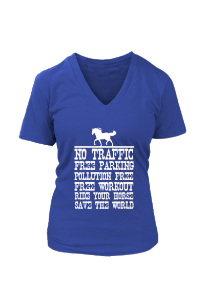Ride Your Horse, Save the World - Tops-Tops-teelaunch-Womens V-Neck-Royal Blue-S-Three Wild Horses