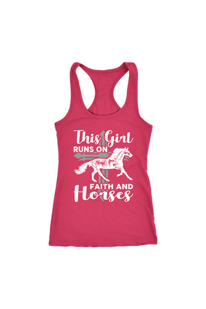 Maroon This Girl Runs on Faith & Horses T-Shirt