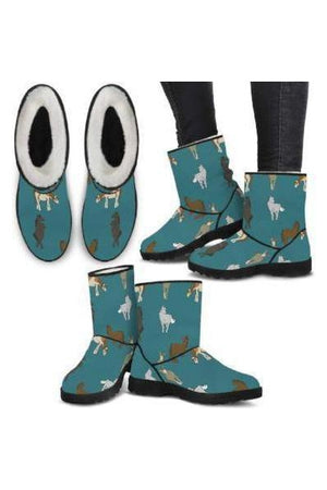 Horse Pattern Faux Fur Boots-Boots-Pillow Profits-2-US5.5 (EU36)-Three Wild Horses