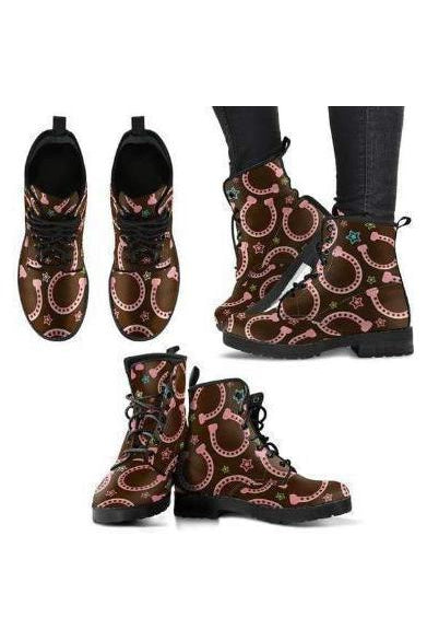 Horseshoes Pattern PU Leather Boots-Boots-Pillow Profits-1-US5 (EU35)-Three Wild Horses