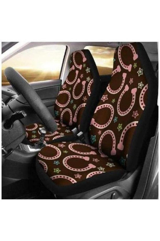 Pink Horseshoes Car Seat Covers