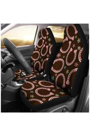 Pink Horseshoes Car Seat Covers-Car Seats Covers-Pillow Profits-Universal Fit-Three Wild Horses
