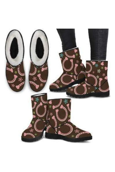Horseshoes Pattern Faux Fur Boots