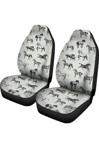 Horses Pattern Car Seat Covers-Car Seats Covers-Pillow Profits-Universal Fit-Three Wild Horses