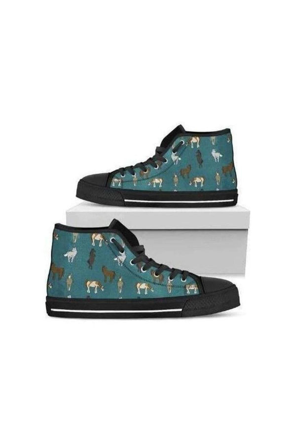 High Top Horse Pattern Shoes