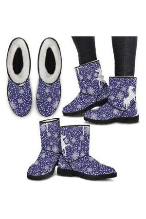 Horse Pattern Faux Fur Boots-Boots-Pillow Profits-3-US5.5 (EU36)-Three Wild Horses