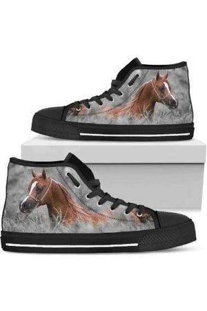 High Top Horse Image Shoes-Shoes-Pillow Profits-3-US5.5 (EU36)-Three Wild Horses