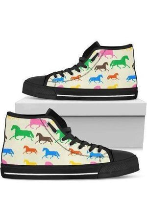 High Top Horse Pattern Shoes-Shoes-Pillow Profits-3-US5.5 (EU36)-Three Wild Horses