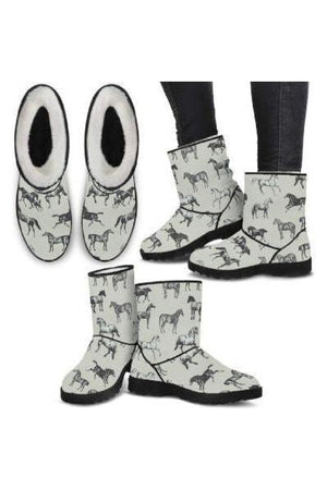 Horse Pattern Faux Fur Boots-Boots-Pillow Profits-4-US5.5 (EU36)-Three Wild Horses
