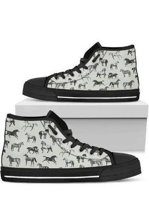 High Top Horse Pattern Shoes-Shoes-Pillow Profits-4-US5.5 (EU36)-Three Wild Horses