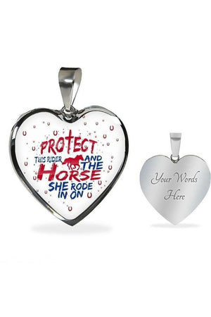 Protect the Rider and Horse - Heart Necklace or Bangle-Jewelry-ShineOn Fulfillment-Luxury Necklace (Silver)-Yes-Three Wild Horses
