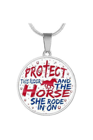 Protect the Rider and Horse - Necklace or Bangle-Jewelry-ShineOn Fulfillment-Luxury Necklace (Silver)-No-Three Wild Horses