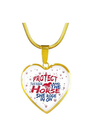 Protect the Rider and Horse - Heart Necklace or Bangle-Jewelry-ShineOn Fulfillment-Luxury Necklace (Gold)-No-Three Wild Horses