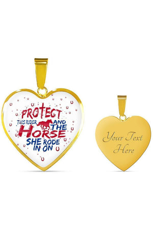 Protect the Rider and Horse - Heart Necklace or Bangle-Jewelry-ShineOn Fulfillment-Luxury Necklace (Gold)-Yes-Three Wild Horses