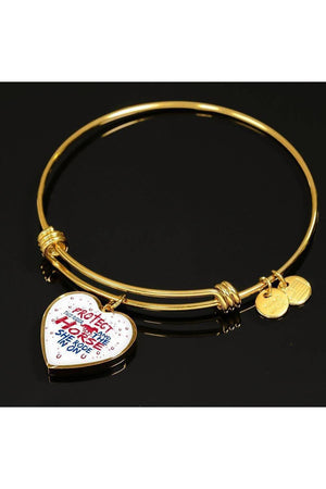 Protect the Rider and Horse - Heart Necklace or Bangle-Jewelry-ShineOn Fulfillment-Luxury Bangle (Gold)-No-Three Wild Horses