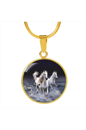 Personalized Steel Necklace and Bangle-Jewelry-ShineOn Fulfillment-Luxury Necklace (Gold)-No-Three Wild Horses