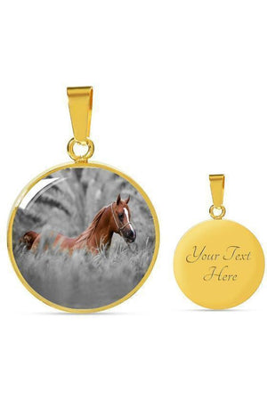 Personalized Steel Necklace and Bangle-Jewelry-ShineOn Fulfillment-Luxury Necklace (Gold)-Yes-Three Wild Horses