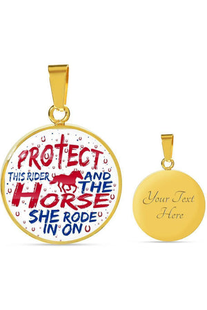 Protect the Rider and Horse - Necklace or Bangle-Jewelry-ShineOn Fulfillment-Luxury Necklace (Gold)-Yes-Three Wild Horses