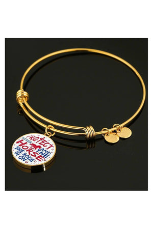 Protect the Rider and Horse - Necklace or Bangle-Jewelry-ShineOn Fulfillment-Luxury Bangle (Gold)-No-Three Wild Horses