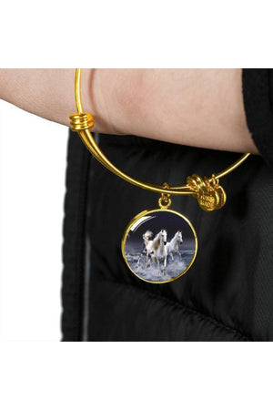 Personalized Steel Necklace and Bangle-Jewelry-ShineOn Fulfillment-Luxury Necklace (Silver)-No-Three Wild Horses
