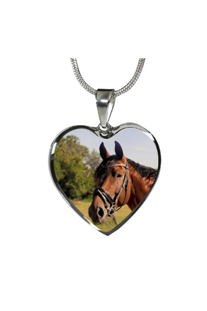 Custom Photo Necklace or Bangle-Jewelry-ShineOn Fulfillment-Luxury Necklace (Silver)-No-Three Wild Horses