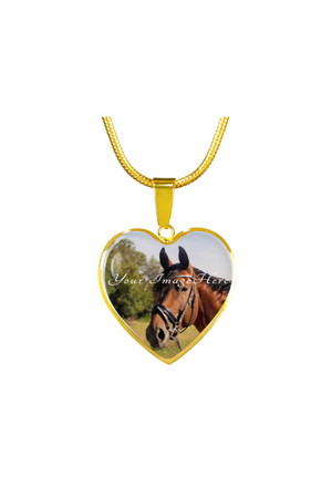 Custom Photo Necklace or Bangle-Jewelry-ShineOn Fulfillment-Luxury Necklace (Gold)-No-Three Wild Horses