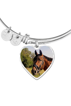 Custom Photo Necklace or Bangle-Jewelry-ShineOn Fulfillment-Luxury Bangle (Silver)-No-Three Wild Horses