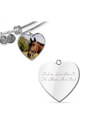 Custom Photo Necklace or Bangle-Jewelry-ShineOn Fulfillment-Luxury Bangle (Silver)-Yes-Three Wild Horses