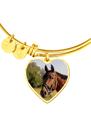 Custom Photo Necklace or Bangle-Jewelry-ShineOn Fulfillment-Luxury Bangle (Gold)-No-Three Wild Horses