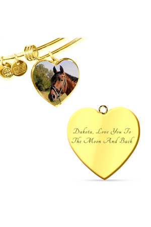 Custom Photo Necklace or Bangle-Jewelry-ShineOn Fulfillment-Luxury Bangle (Gold)-Yes-Three Wild Horses