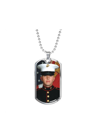 Custom Photo Necklace-Jewelry-ShineOn Fulfillment-Military Chain (Silver)-No-Three Wild Horses