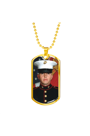 Custom Photo Necklace-Jewelry-ShineOn Fulfillment-Military Chain (Gold)-No-Three Wild Horses