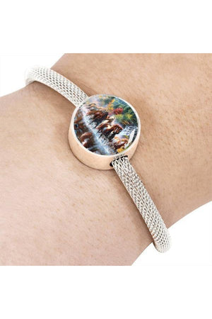 Personalized Steel Bracelet - Design 6-Circle Charm-ShineOn Fulfillment-S/M Bracelet & Charm-No-Three Wild Horses