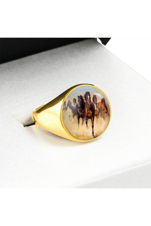 Running Horses Ring-Ring-ShineOn Fulfillment-Stainless Steel Signet Ring-Three Wild Horses