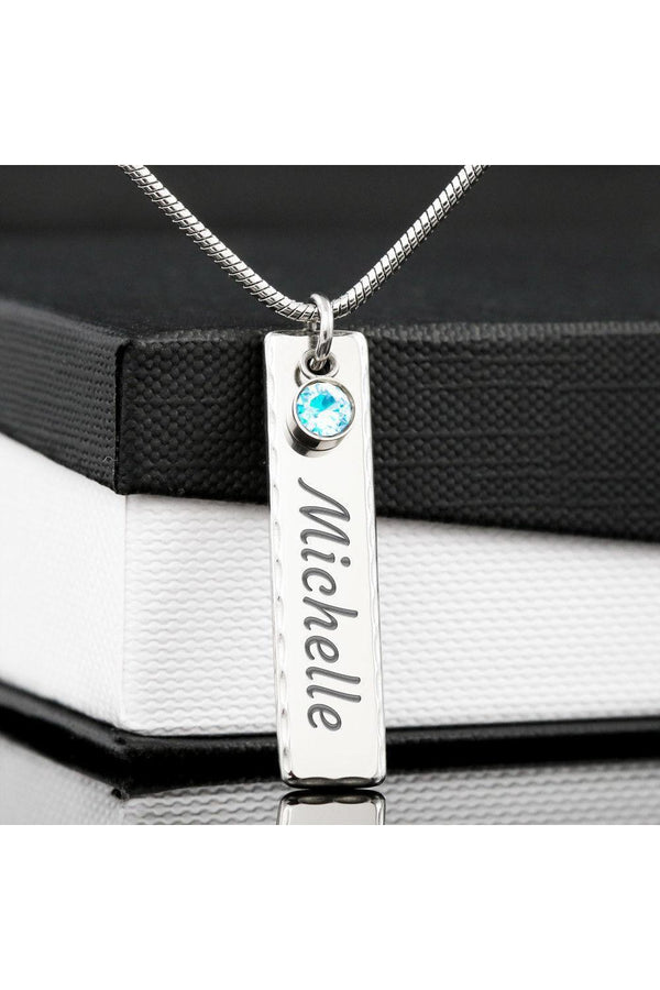 Personalized Vertical Bar Necklace with Inset Crystals