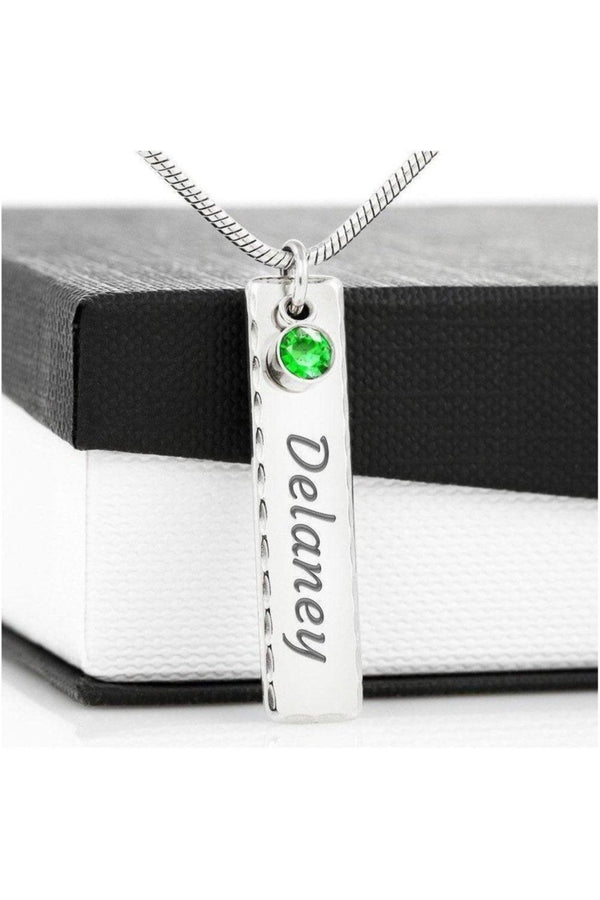 Personalized Vertical Bar Necklace with Inset Crystals-Jewelry-ShineOn Fulfillment-Birthstone Name Tag .315 Surgical Steel-Three Wild Horses