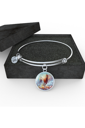 Personalized Steel Necklace and Bangle-Jewelry-ShineOn Fulfillment-Luxury Bangle (Silver)-No-Three Wild Horses