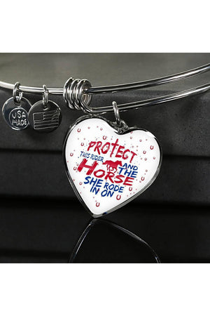 Protect the Rider and Horse - Heart Necklace or Bangle-Jewelry-ShineOn Fulfillment-Luxury Bangle (Silver)-No-Three Wild Horses