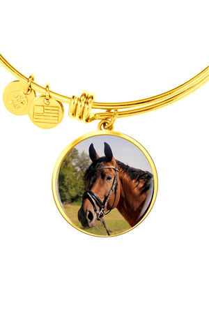Upload my photo - Bangle-Jewelry-ShineOn Fulfillment-Circle Pendant Gold Bangle-No-Three Wild Horses