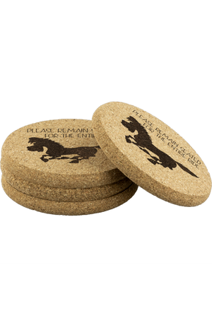Round Cork Coasters - Please Remain Seated-Coasters-teelaunch-4pcs Set-Three Wild Horses