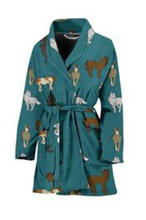 Dark Slate Gray Horsey Pattern Women's Bath Robe