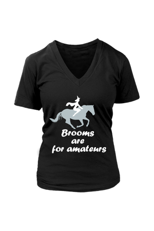 Brooms Are For Amateurs - Tops-Tops-teelaunch-Womens V-Neck-Black-S-Three Wild Horses