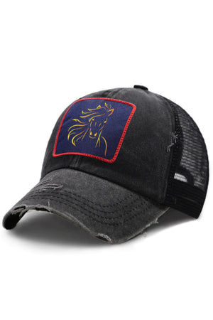 Dark Slate Gray Horse Art Black Riding Baseball Cap