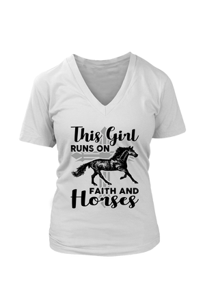 Gray This Girl Runs on Faith & Horses T-Shirt in White